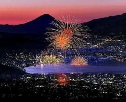 高ボッチ高原からの諏訪湖花火の様子