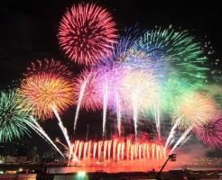 なにわ淀川花火大会の打ち上げの様子